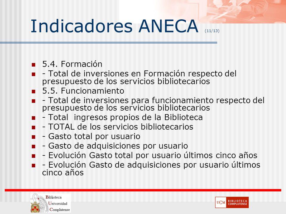 Indicadores ANECA (11/13) 5.4. Formación - Total de inversiones en Formación respecto del presupuesto de los servicios bibliotecarios 5.5. Funcionamie