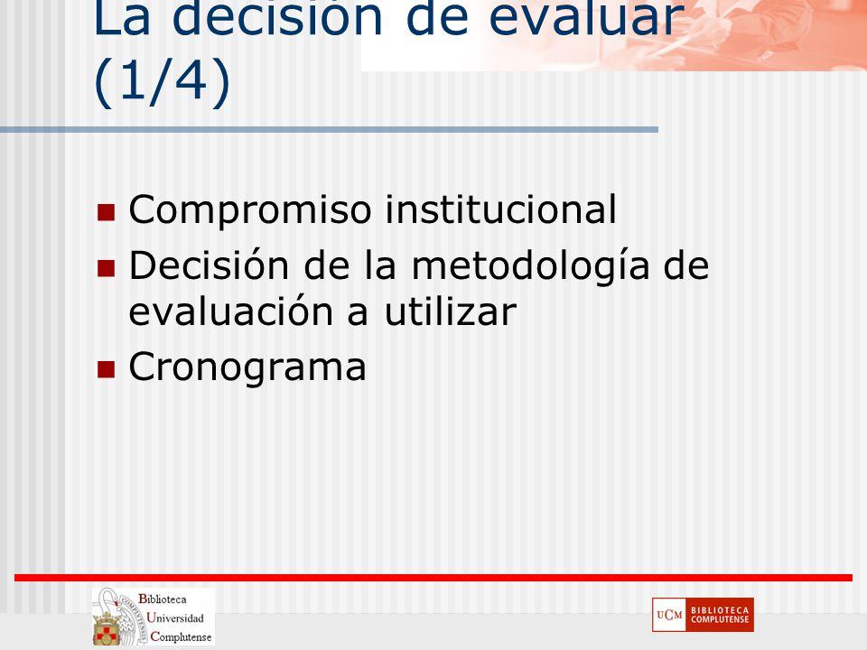 La decisión de evaluar (1/4) Compromiso institucional Decisión de la metodología de evaluación a utilizar Cronograma