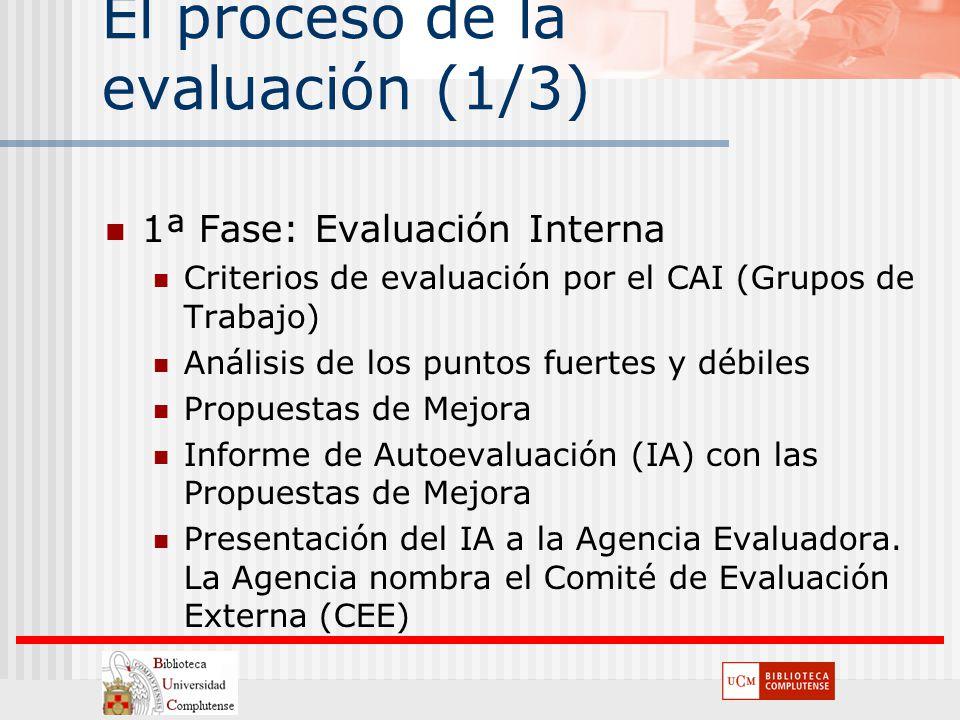 El proceso de la evaluación (1/3) 1ª Fase: Evaluación Interna Criterios de evaluación por el CAI (Grupos de Trabajo) Análisis de los puntos fuertes y