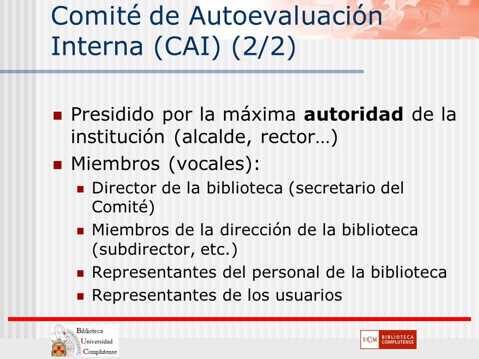 Comité de Autoevaluación Interna (CAI) (2/2) Presidido por la máxima autoridad de la institución (alcalde, rector…) Miembros (vocales): Director de la