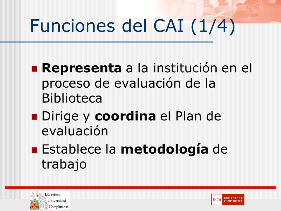 Funciones del CAI (1/4) Representa a la institución en el proceso de evaluación de la Biblioteca Dirige y coordina el Plan de evaluación Establece la