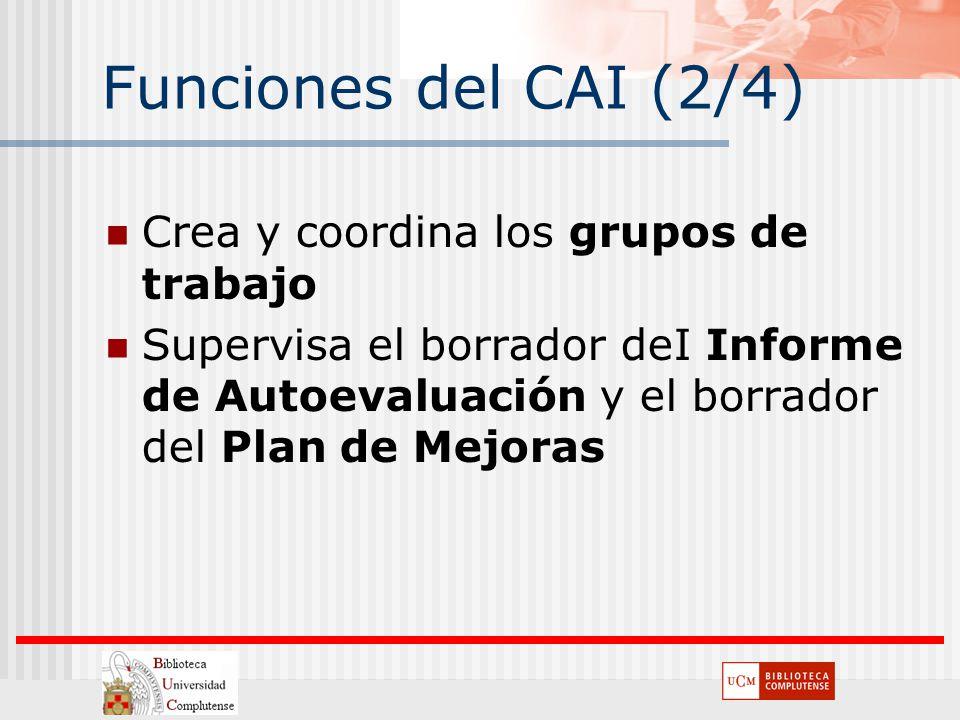 Funciones del CAI (2/4) Crea y coordina los grupos de trabajo Supervisa el borrador deI Informe de Autoevaluación y el borrador del Plan de Mejoras