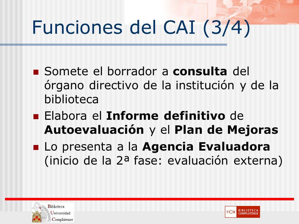Funciones del CAI (3/4) Somete el borrador a consulta del órgano directivo de la institución y de la biblioteca Elabora el Informe definitivo de Autoe