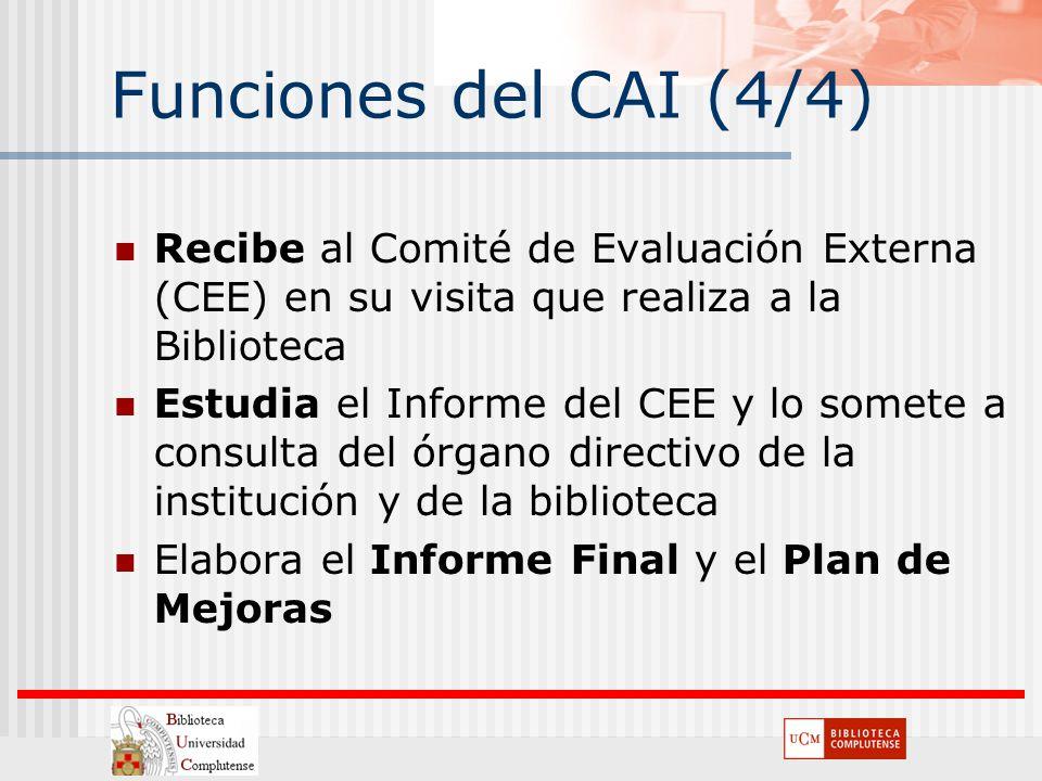 Funciones del CAI (4/4) Recibe al Comité de Evaluación Externa (CEE) en su visita que realiza a la Biblioteca Estudia el Informe del CEE y lo somete a