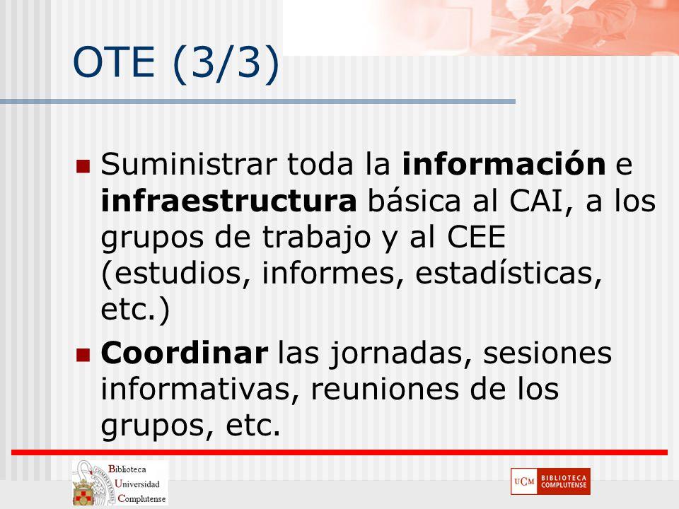 OTE (3/3) Suministrar toda la información e infraestructura básica al CAI, a los grupos de trabajo y al CEE (estudios, informes, estadísticas, etc.) C