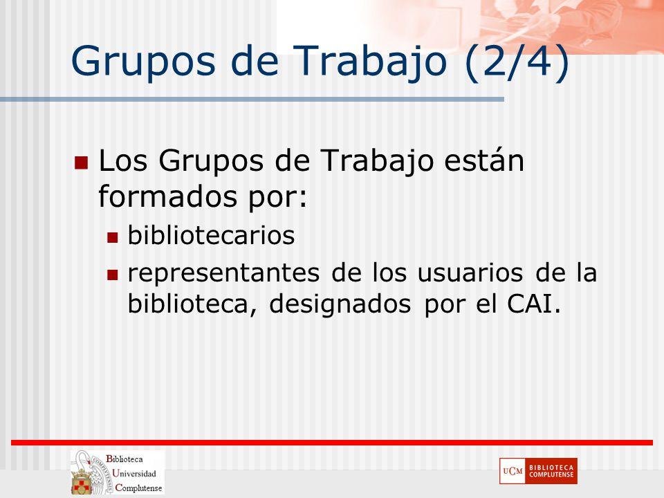 Grupos de Trabajo (2/4) Los Grupos de Trabajo están formados por: bibliotecarios representantes de los usuarios de la biblioteca, designados por el CA