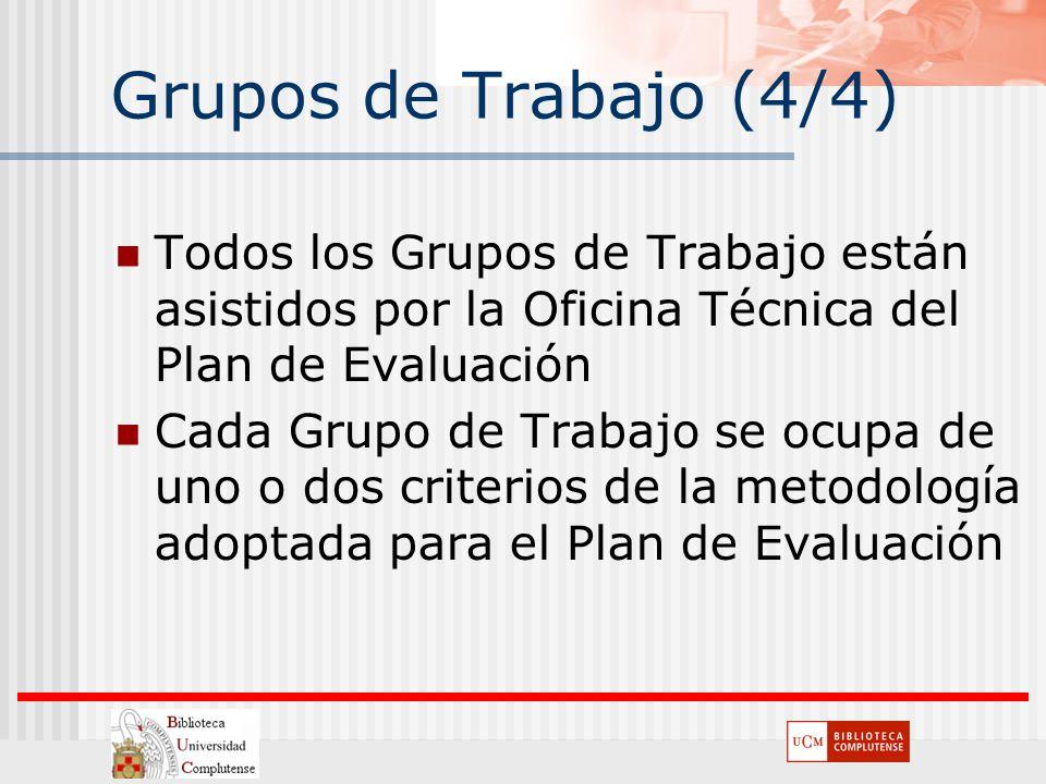Grupos de Trabajo (4/4) Todos los Grupos de Trabajo están asistidos por la Oficina Técnica del Plan de Evaluación Cada Grupo de Trabajo se ocupa de un