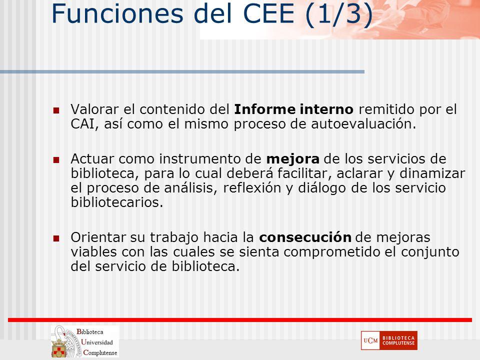 Funciones del CEE (1/3) Valorar el contenido del Informe interno remitido por el CAI, así como el mismo proceso de autoevaluación. Actuar como instrum