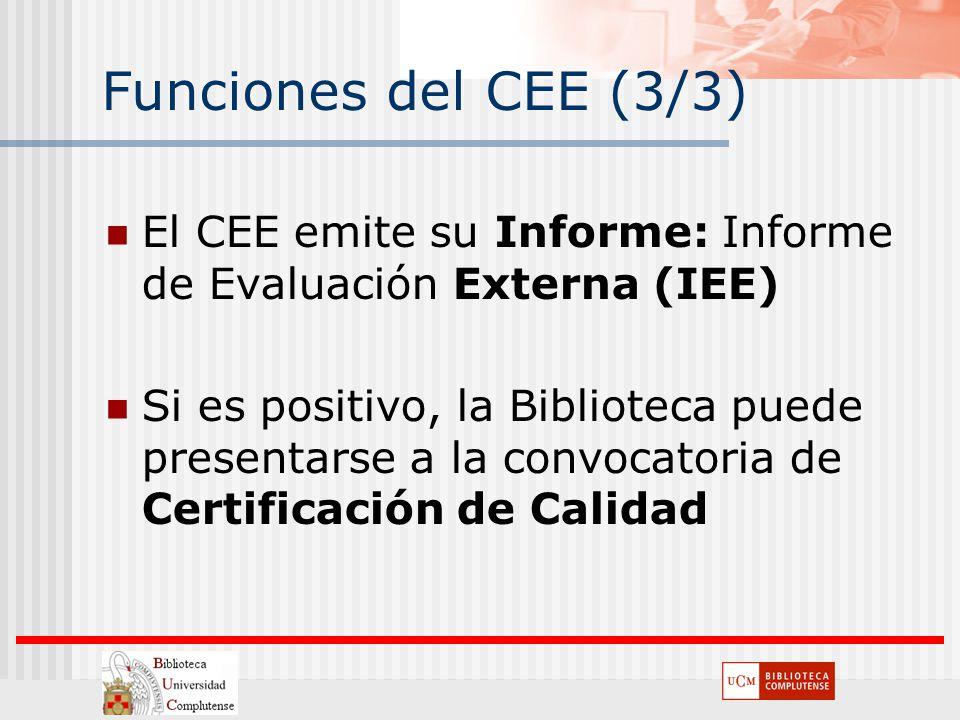 Funciones del CEE (3/3) El CEE emite su Informe: Informe de Evaluación Externa (IEE) Si es positivo, la Biblioteca puede presentarse a la convocatoria