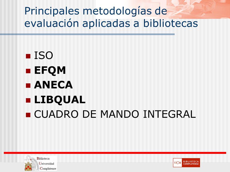 Principales metodologías de evaluación aplicadas a bibliotecas ISO EFQM ANECA LIBQUAL CUADRO DE MANDO INTEGRAL