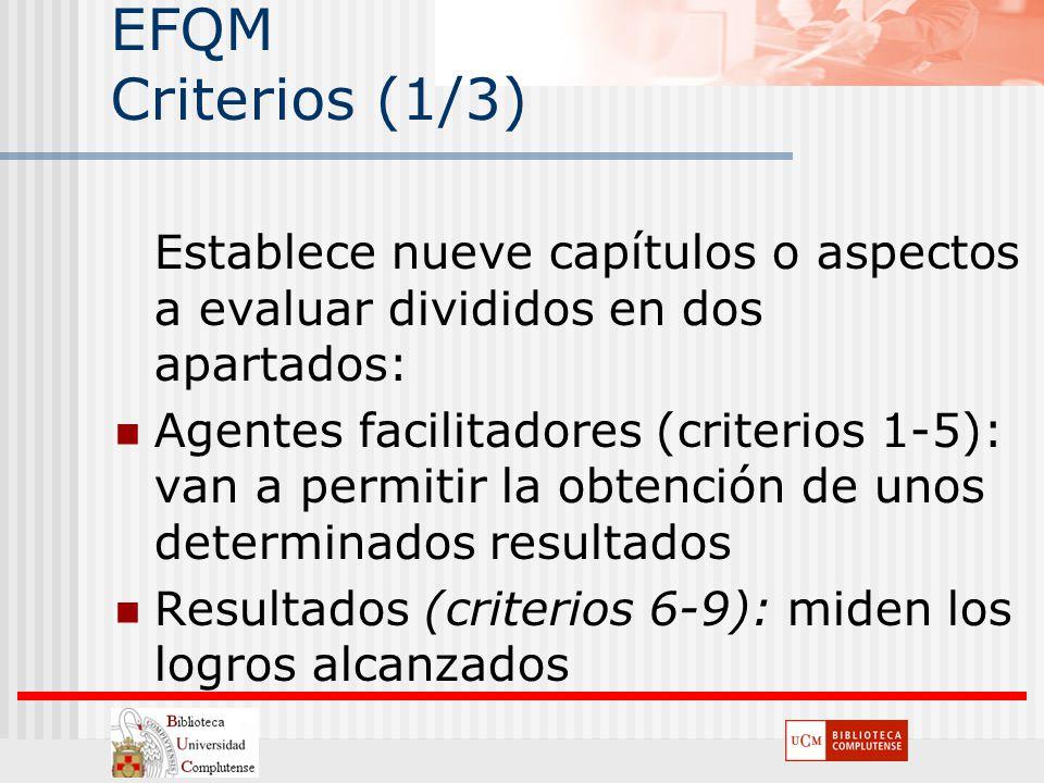 EFQM Criterios (1/3) Establece nueve capítulos o aspectos a evaluar divididos en dos apartados: Agentes facilitadores (criterios 1-5): van a permitir