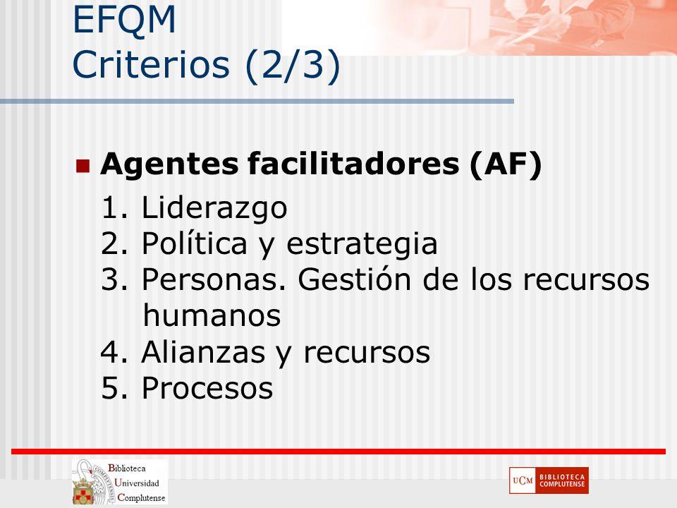 EFQM Criterios (2/3) Agentes facilitadores (AF) 1. Liderazgo 2. Política y estrategia 3. Personas. Gestión de los recursos humanos 4. Alianzas y recur