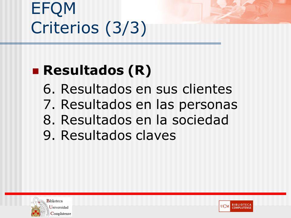 EFQM Criterios (3/3) Resultados (R) 6. Resultados en sus clientes 7. Resultados en las personas 8. Resultados en la sociedad 9. Resultados claves