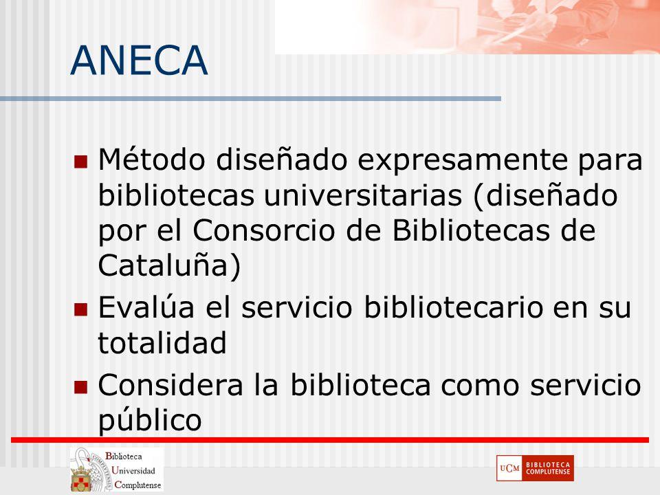 ANECA Método diseñado expresamente para bibliotecas universitarias (diseñado por el Consorcio de Bibliotecas de Cataluña) Evalúa el servicio bibliotec