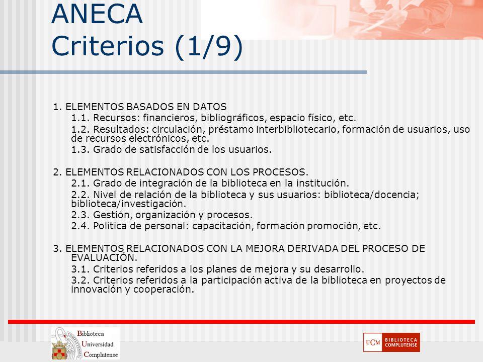 ANECA Criterios (1/9) 1. ELEMENTOS BASADOS EN DATOS 1.1. Recursos: financieros, bibliográficos, espacio físico, etc. 1.2. Resultados: circulación, pré