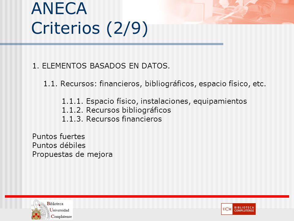 ANECA Criterios (2/9) 1. ELEMENTOS BASADOS EN DATOS. 1.1. Recursos: financieros, bibliográficos, espacio físico, etc. 1.1.1. Espacio físico, instalaci