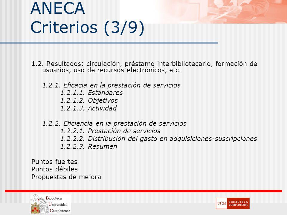ANECA Criterios (3/9) 1.2. Resultados: circulación, préstamo interbibliotecario, formación de usuarios, uso de recursos electrónicos, etc. 1.2.1. Efic