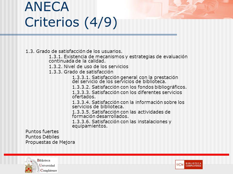 ANECA Criterios (4/9) 1.3. Grado de satisfacción de los usuarios. 1.3.1. Existencia de mecanismos y estrategias de evaluación continuada de la calidad