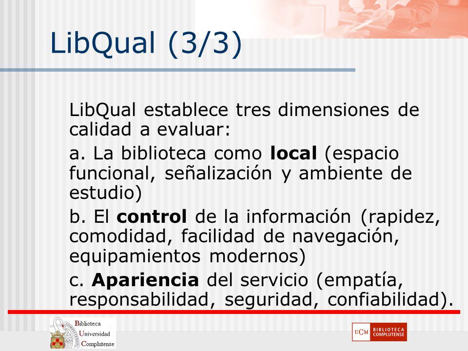 LibQual (3/3) LibQual establece tres dimensiones de calidad a evaluar: a. La biblioteca como local (espacio funcional, señalización y ambiente de estu