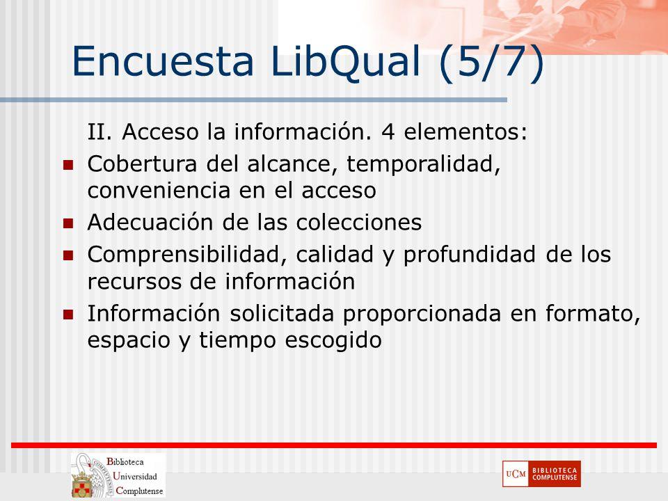 Encuesta LibQual (5/7) II. Acceso la información. 4 elementos: Cobertura del alcance, temporalidad, conveniencia en el acceso Adecuación de las colecc