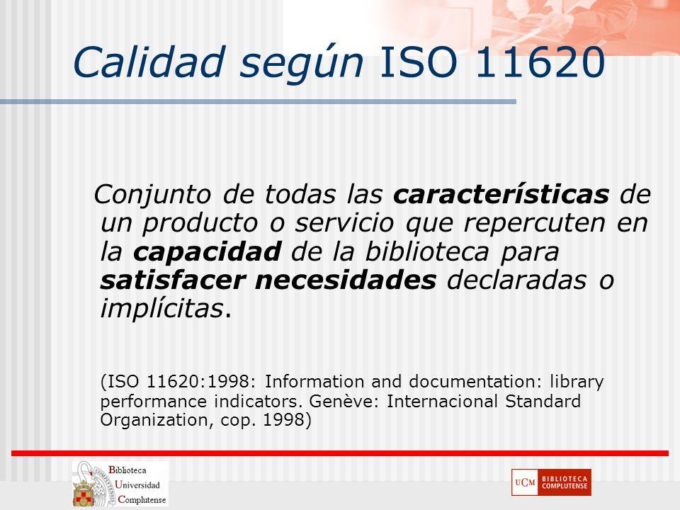 Calidad según ISO 11620 Conjunto de todas las características de un producto o servicio que repercuten en la capacidad de la biblioteca para satisface