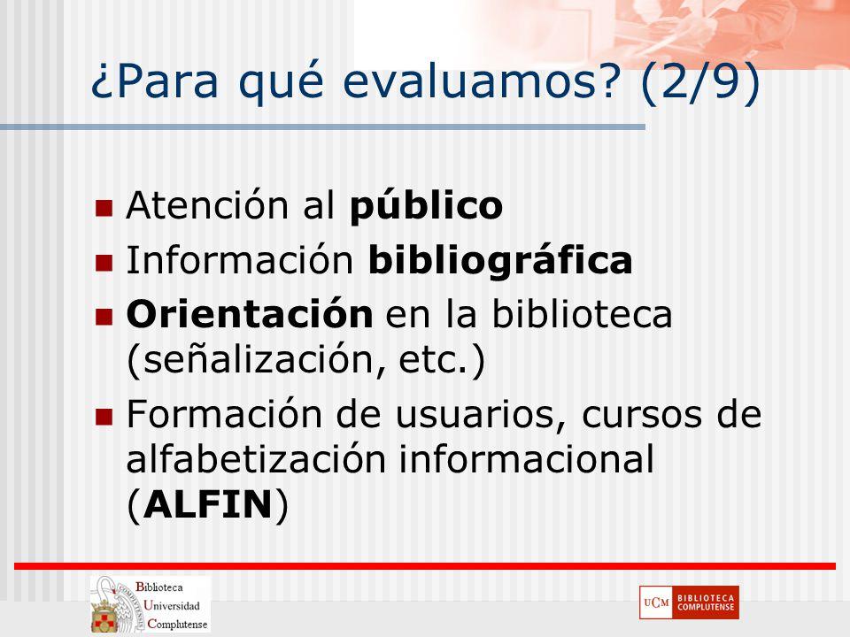 ¿Para qué evaluamos? (2/9) Atención al público Información bibliográfica Orientación en la biblioteca (señalización, etc.) Formación de usuarios, curs