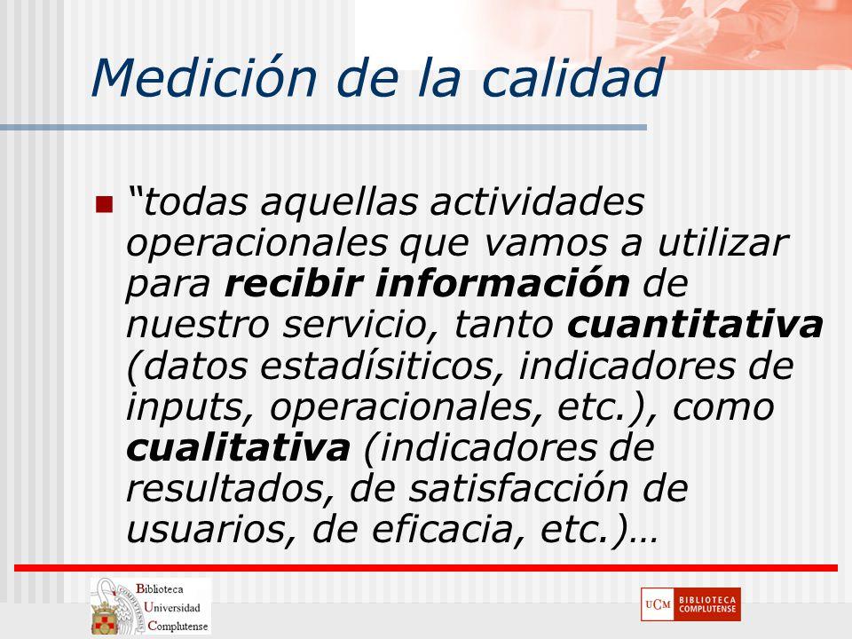 Medición de la calidad todas aquellas actividades operacionales que vamos a utilizar para recibir información de nuestro servicio, tanto cuantitativa
