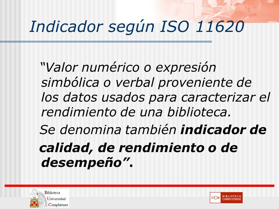 Indicador según ISO 11620 Valor numérico o expresión simbólica o verbal proveniente de los datos usados para caracterizar el rendimiento de una biblio