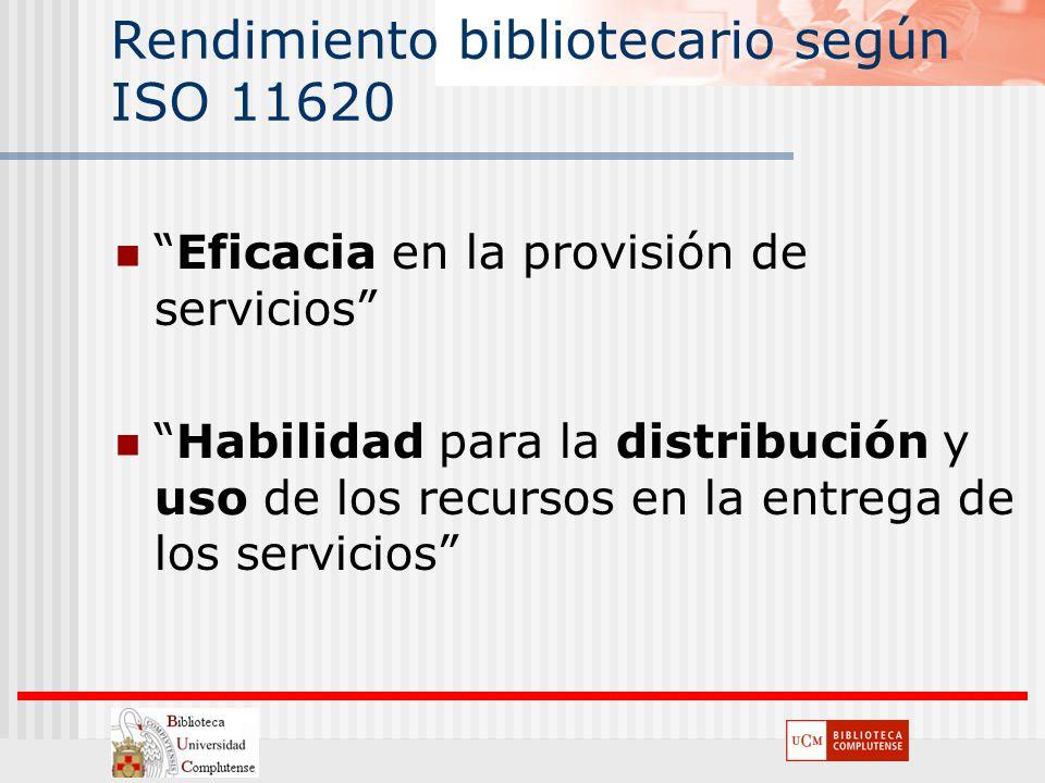 Rendimiento bibliotecario según ISO 11620 Eficacia en la provisión de servicios Habilidad para la distribución y uso de los recursos en la entrega de