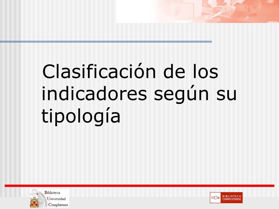 Clasificación de los indicadores según su tipología