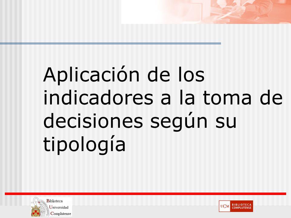 Aplicación de los indicadores a la toma de decisiones según su tipología