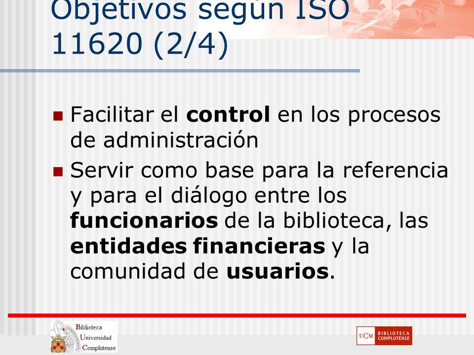 Objetivos según ISO 11620 (2/4) Facilitar el control en los procesos de administración Servir como base para la referencia y para el diálogo entre los