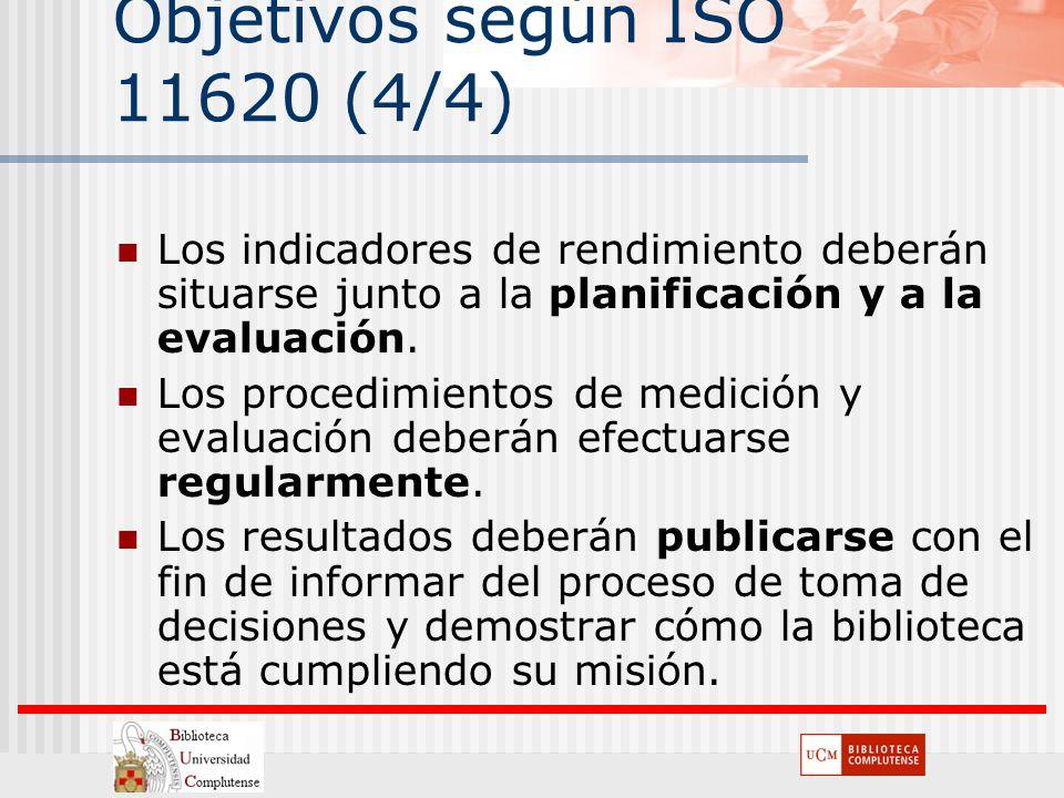 Objetivos según ISO 11620 (4/4) Los indicadores de rendimiento deberán situarse junto a la planificación y a la evaluación. Los procedimientos de medi