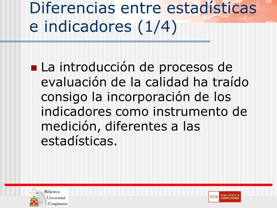 Diferencias entre estadísticas e indicadores (1/4) La introducción de procesos de evaluación de la calidad ha traído consigo la incorporación de los i