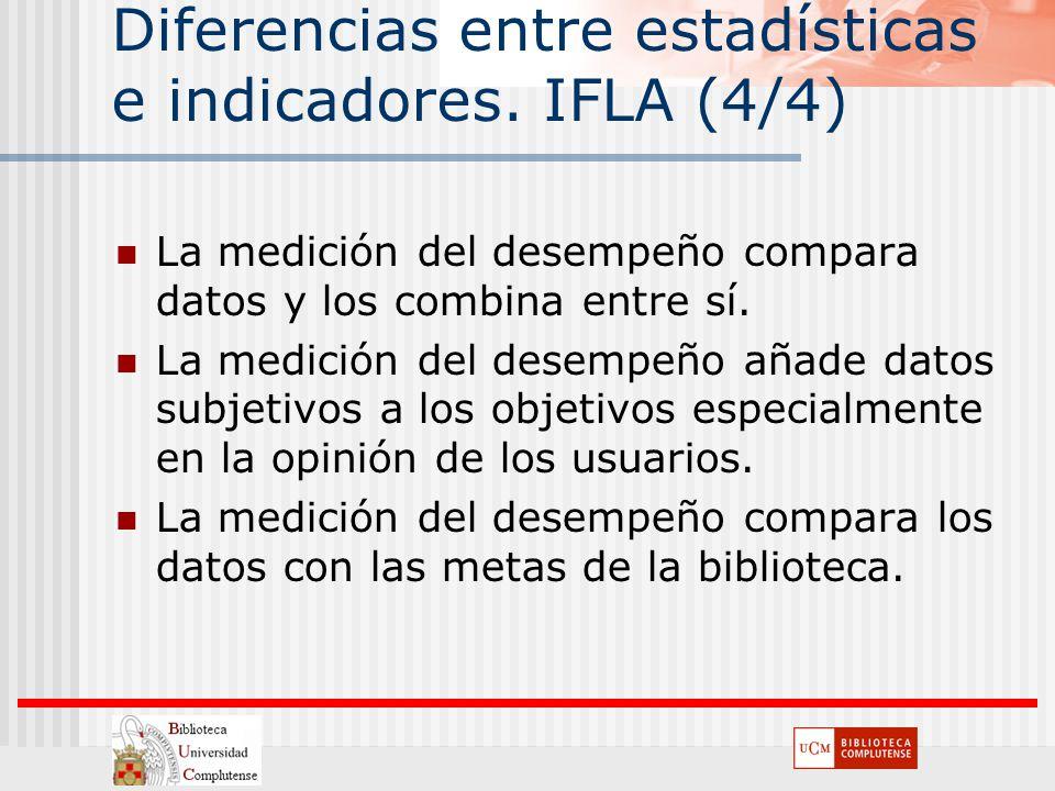 Diferencias entre estadísticas e indicadores. IFLA (4/4) La medición del desempeño compara datos y los combina entre sí. La medición del desempeño aña
