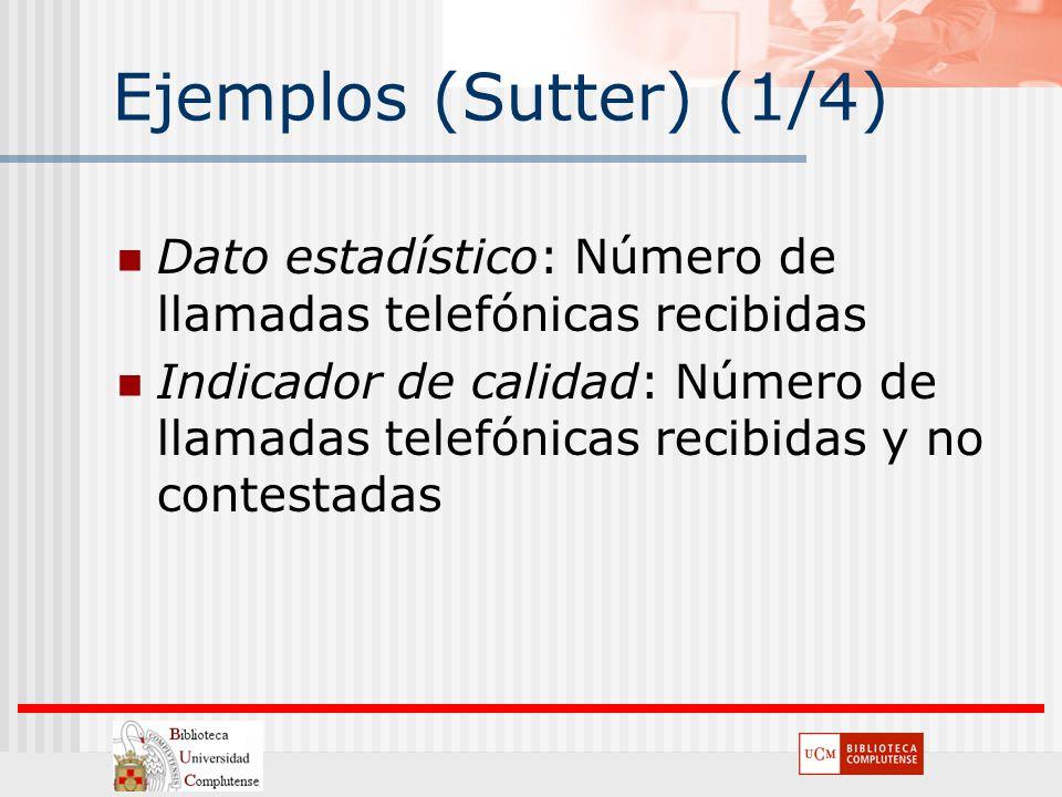 Ejemplos (Sutter) (1/4) Dato estadístico: Número de llamadas telefónicas recibidas Indicador de calidad: Número de llamadas telefónicas recibidas y no