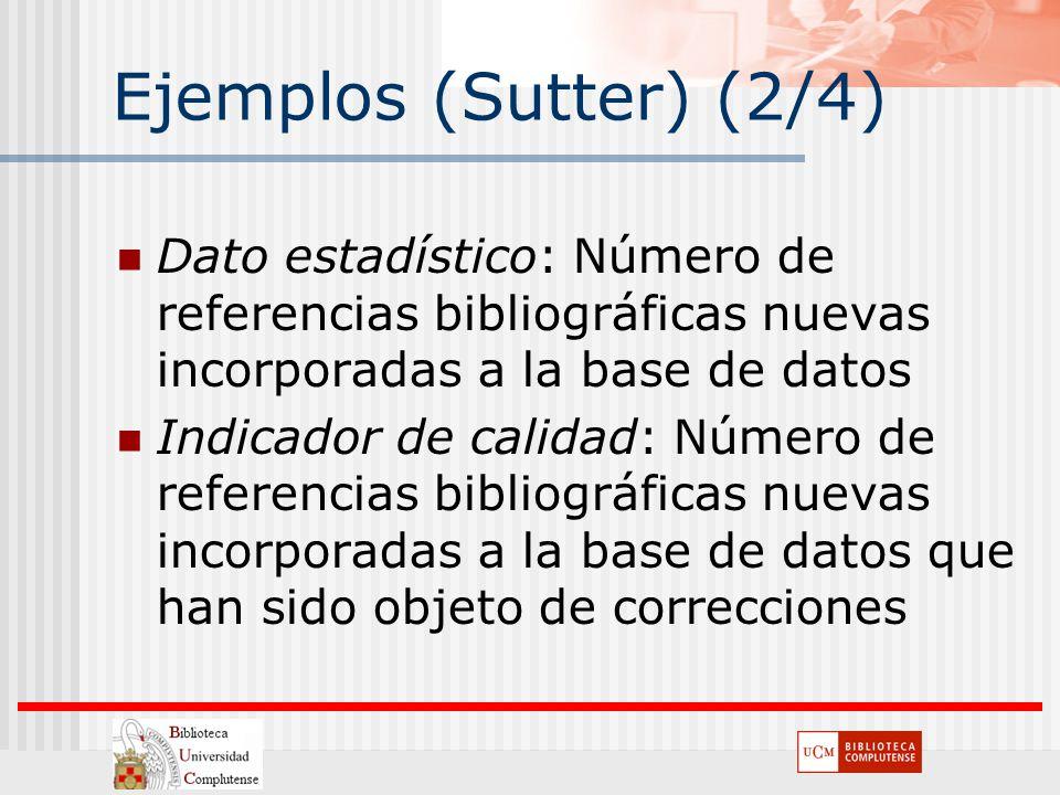 Ejemplos (Sutter) (2/4) Dato estadístico: Número de referencias bibliográficas nuevas incorporadas a la base de datos Indicador de calidad: Número de