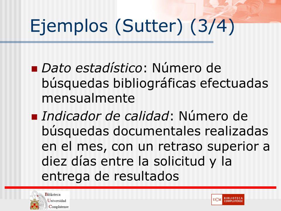 Ejemplos (Sutter) (3/4) Dato estadístico: Número de búsquedas bibliográficas efectuadas mensualmente Indicador de calidad: Número de búsquedas documen