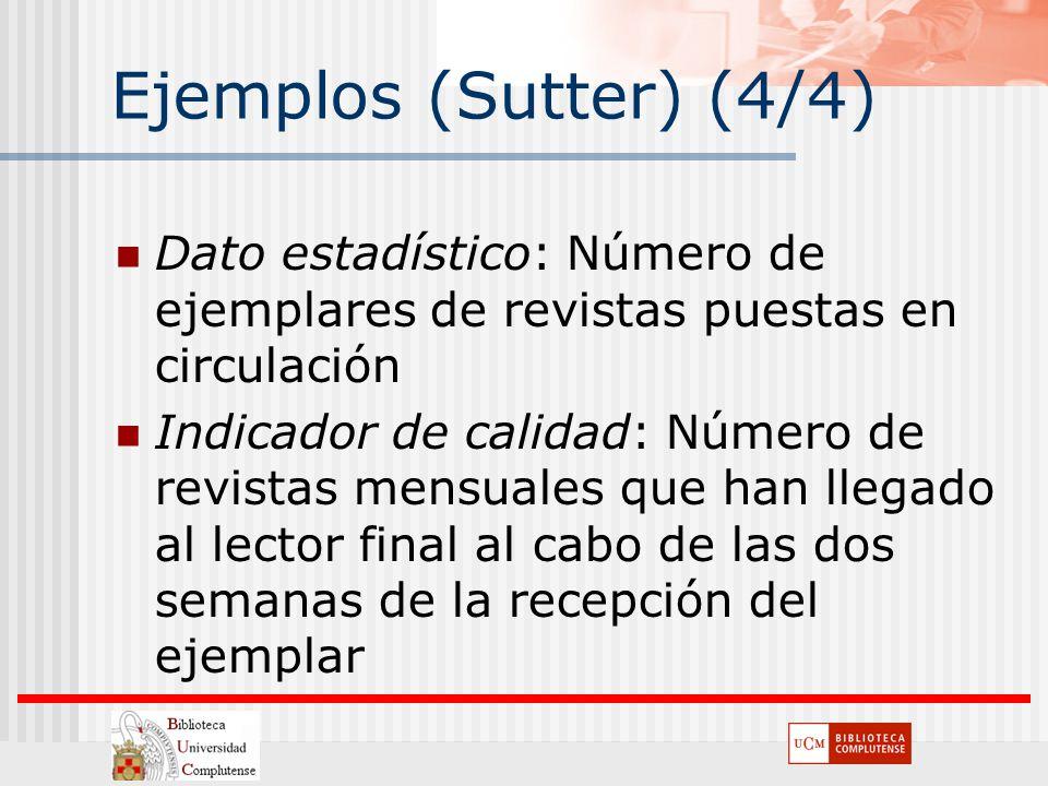 Ejemplos (Sutter) (4/4) Dato estadístico: Número de ejemplares de revistas puestas en circulación Indicador de calidad: Número de revistas mensuales q