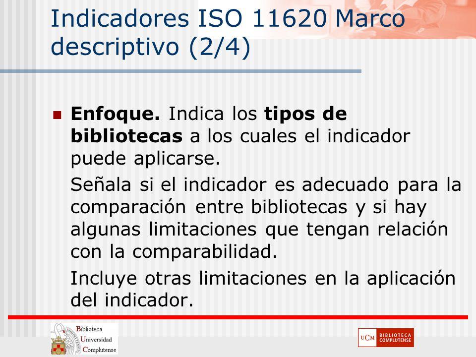 Indicadores ISO 11620 Marco descriptivo (2/4) Enfoque. Indica los tipos de bibliotecas a los cuales el indicador puede aplicarse. Señala si el indicad