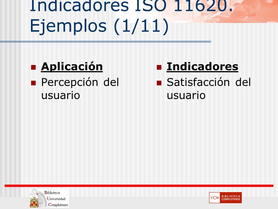 Indicadores ISO 11620. Ejemplos (1/11) Aplicación Percepción del usuario Indicadores Satisfacción del usuario