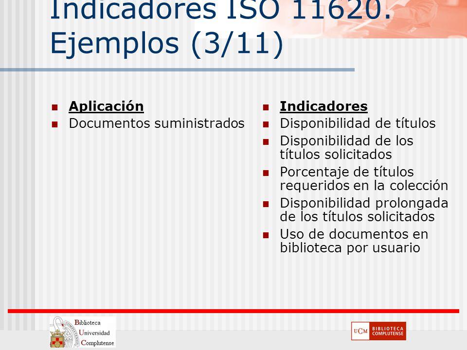 Indicadores ISO 11620. Ejemplos (3/11) Aplicación Documentos suministrados Indicadores Disponibilidad de títulos Disponibilidad de los títulos solicit