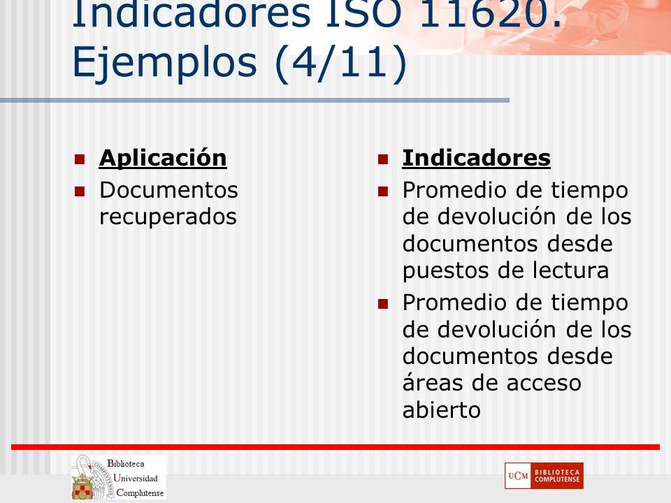 Indicadores ISO 11620. Ejemplos (4/11) Aplicación Documentos recuperados Indicadores Promedio de tiempo de devolución de los documentos desde puestos