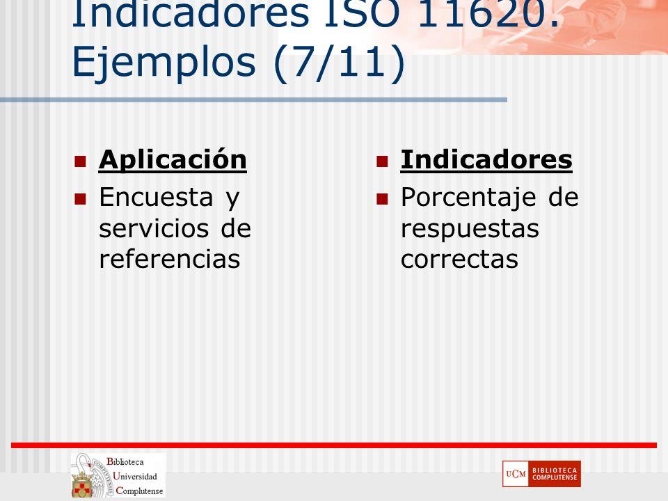 Indicadores ISO 11620. Ejemplos (7/11) Aplicación Encuesta y servicios de referencias Indicadores Porcentaje de respuestas correctas