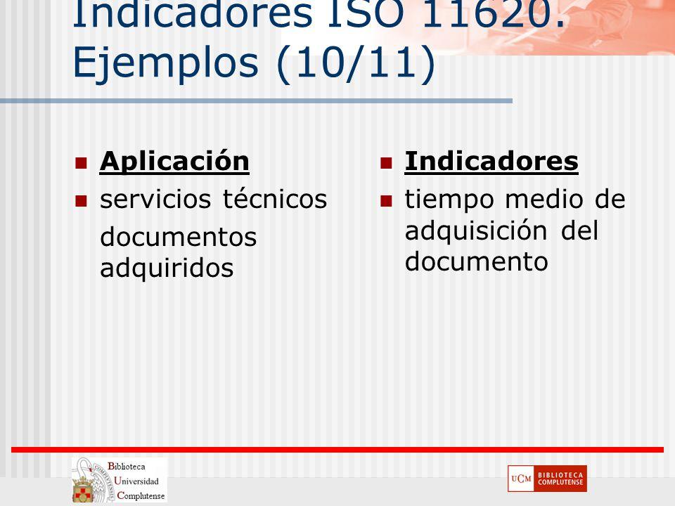 Indicadores ISO 11620. Ejemplos (10/11) Aplicación servicios técnicos documentos adquiridos Indicadores Indicadores tiempo medio de adquisición del do