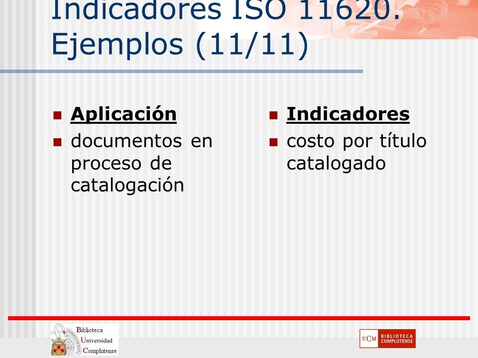Indicadores ISO 11620. Ejemplos (11/11) Aplicación documentos en proceso de catalogación Indicadores Indicadores costo por título catalogado