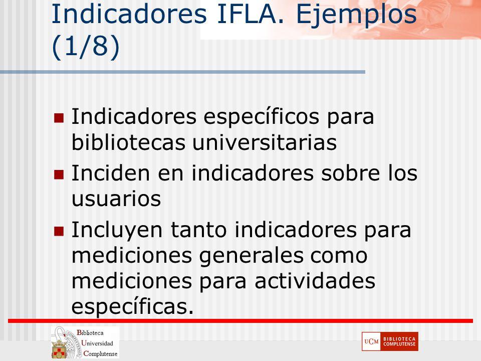 Indicadores IFLA. Ejemplos (1/8) Indicadores específicos para bibliotecas universitarias Inciden en indicadores sobre los usuarios Incluyen tanto indi