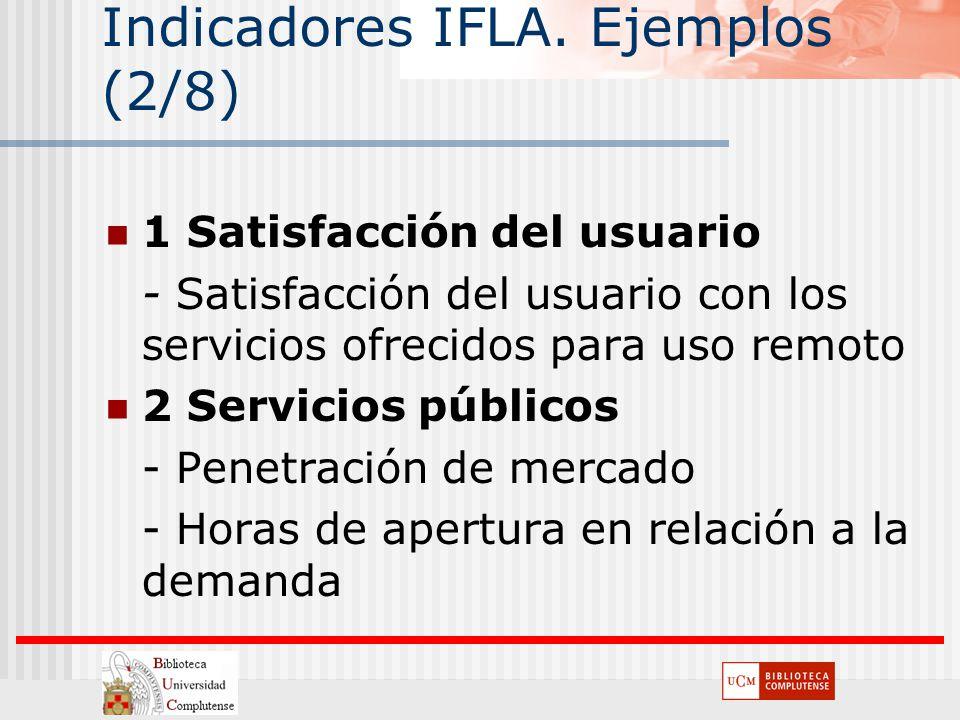 Indicadores IFLA. Ejemplos (2/8) 1 Satisfacción del usuario - Satisfacción del usuario con los servicios ofrecidos para uso remoto 2 Servicios público