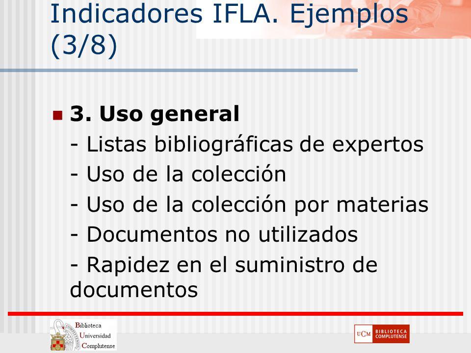 Indicadores IFLA. Ejemplos (3/8) 3. Uso general - Listas bibliográficas de expertos - Uso de la colección - Uso de la colección por materias - Documen