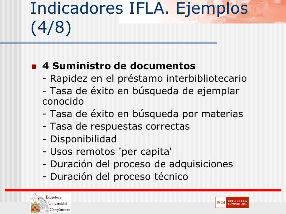 Indicadores IFLA. Ejemplos (4/8) 4 Suministro de documentos - Rapidez en el préstamo interbibliotecario - Tasa de éxito en búsqueda de ejemplar conoci